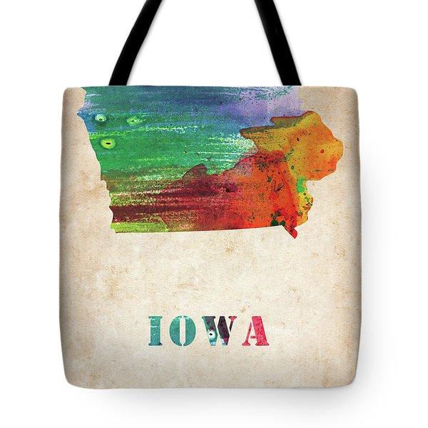Iowa Colorful Watercolor Map Tote Bag
