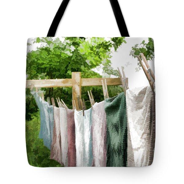 Iowa Farm Laundry Day  Tote Bag by Wilma Birdwell