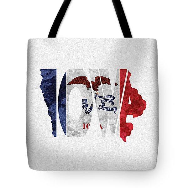 Iowa Typographic Map Flag Tote Bag