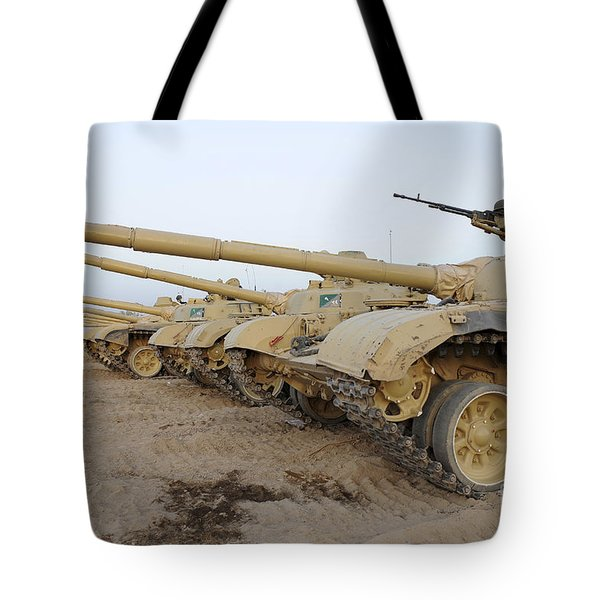 Iraqi T-72 Tanks From Iraqi Army Tote Bag by Stocktrek Images