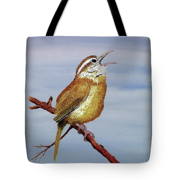 Tote Bag featuring the painting Irate Wren by Thom Glace