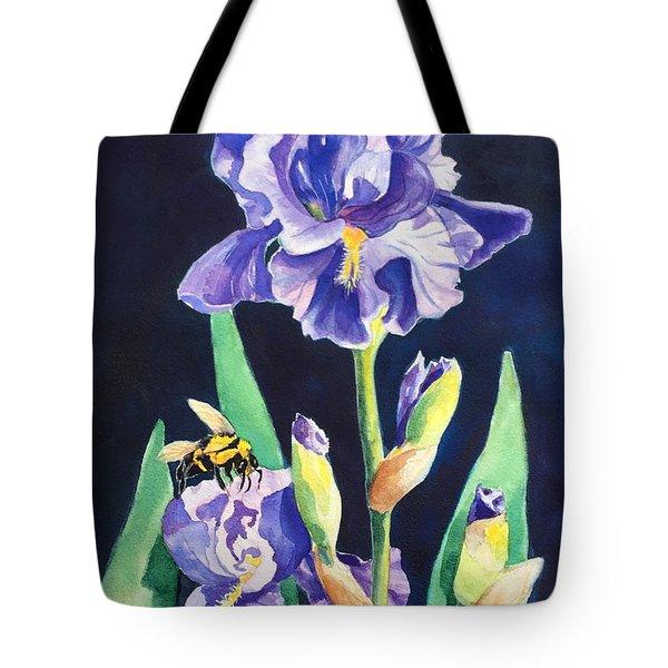 Iris And Bees Tote Bag