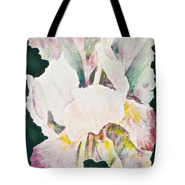 Tote Bag featuring the painting Iris And Buds by Carolyn Rosenberger