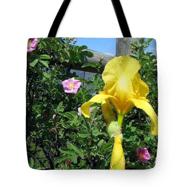 Iris And Wild Roses Tote Bag by Will Borden