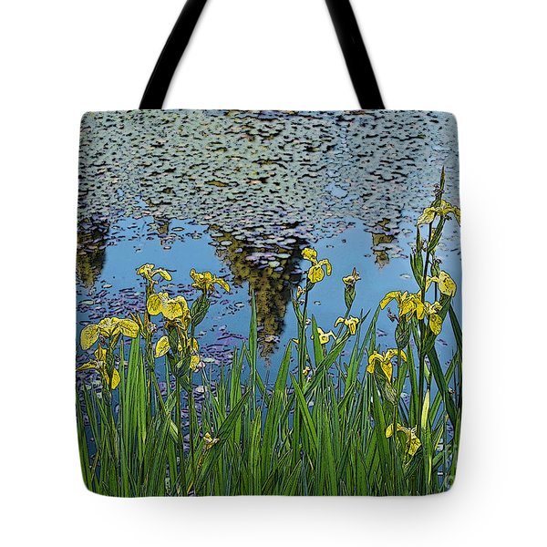 Iris By The Pond - Artistic Version Tote Bag by Maria Janicki