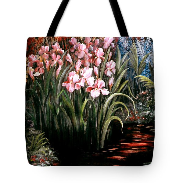 Iris By The Pond Tote Bag