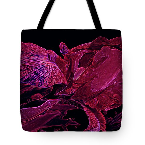 Iris Deep Red Glow Tote Bag