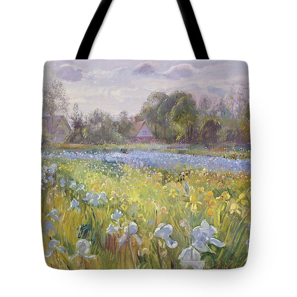 Iris Field In The Evening Light Tote Bag