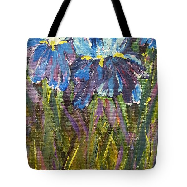 Iris Floral Garden Tote Bag by Claire Bull