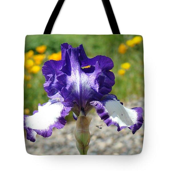 Iris Flower Purple White Irises Nature Landscape Giclee Art Prints Baslee Troutman Tote Bag by Baslee Troutman