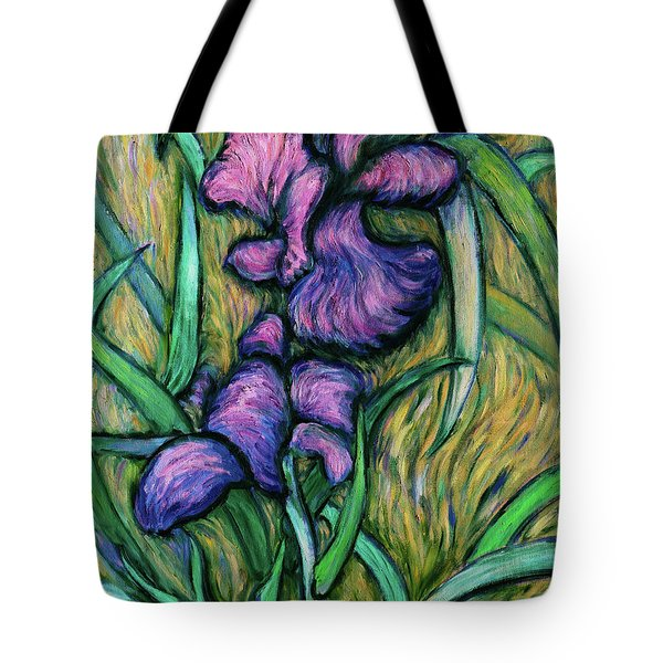 Tote Bag featuring the painting Iris For Vincent - Contemporary Fauvist Post-impressionist Oil Painting Original Art On Canvas by Xueling Zou