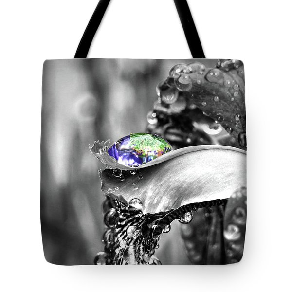 Tote Bag featuring the digital art Iris In Black And Color by Kathleen Illes