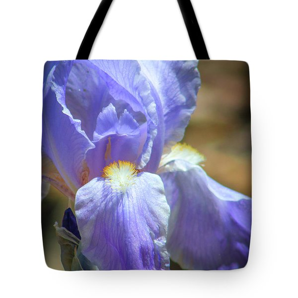 Iris In Blue And Purple Tote Bag by Lynne Jenkins