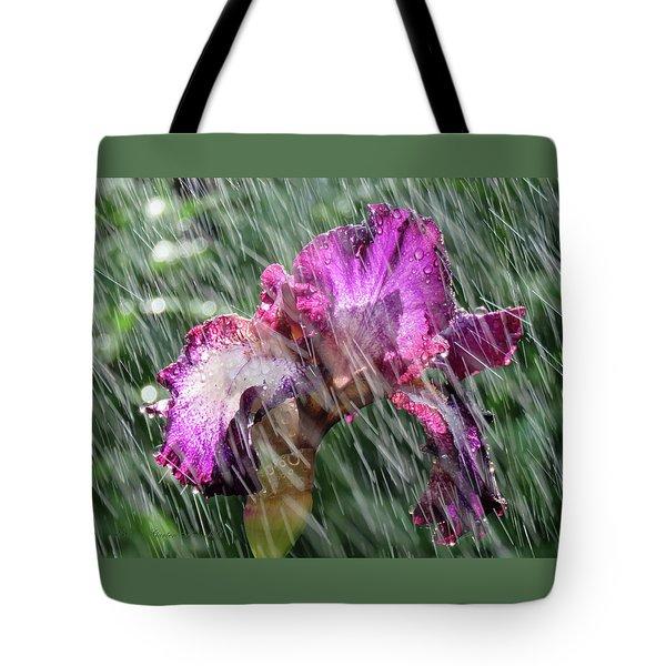 Iris In The Rain - Beauty In The Garden Tote Bag by Brooks Garten Hauschild