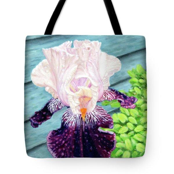 Iris In The Spring Rain Tote Bag
