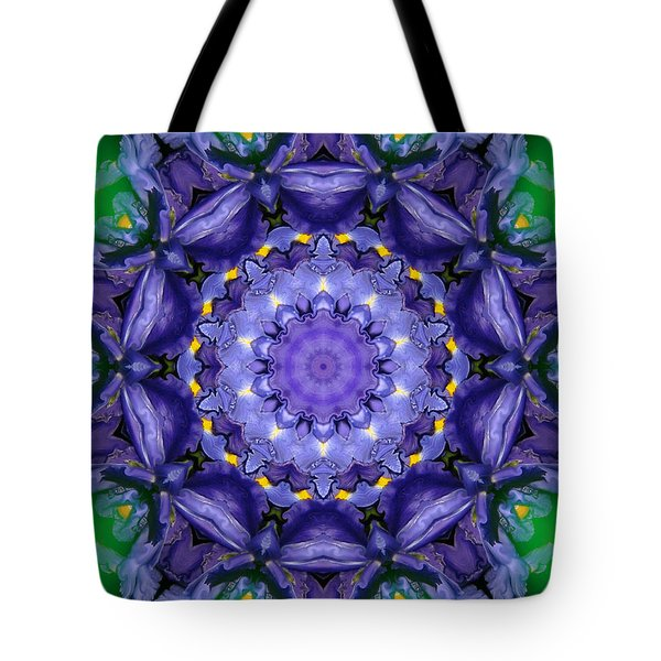 Tote Bag featuring the mixed media Iris Kaleidoscope by Roxy Riou