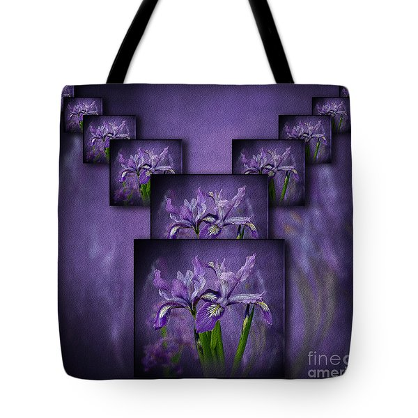 Tote Bag featuring the photograph Iris Stack by Shirley Mangini
