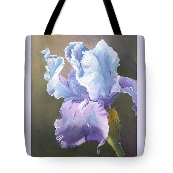 Tote Bag featuring the painting Iris Tears by Sherry Shipley