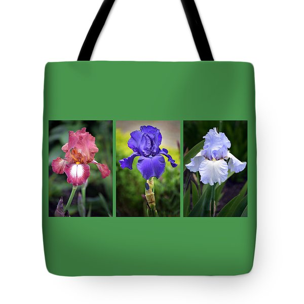 Iris Triptych. Tote Bag by Terence Davis