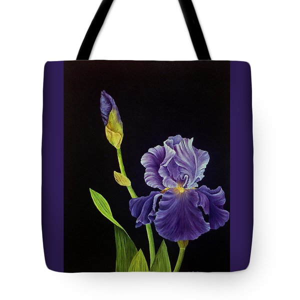 Iris With Purple Ruffles Tote Bag
