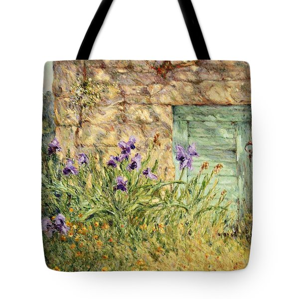 Irises At The Old Barn Tote Bag