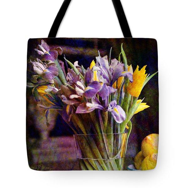 Irises In A Glass Tote Bag