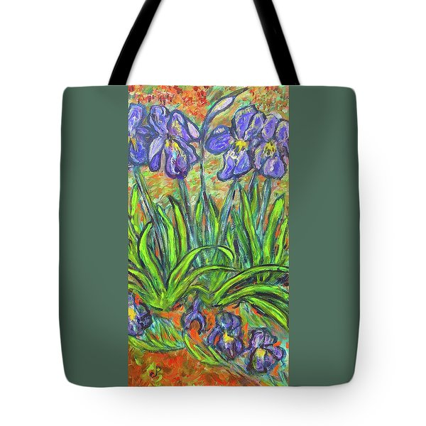 Irises In A Sunny Garden Tote Bag by Carolyn Donnell