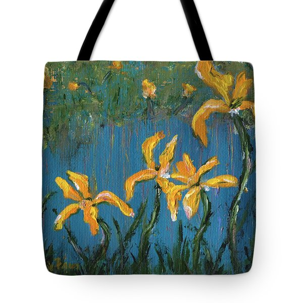 Tote Bag featuring the painting Irises by Jamie Frier