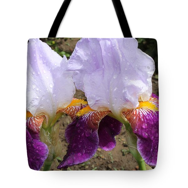 Irises Sparkling With Rain Droplets Tote Bag