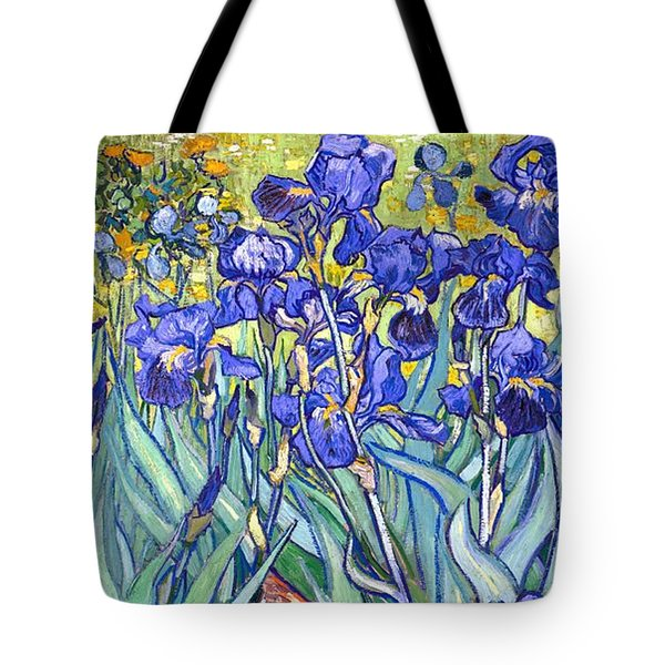 Tote Bag featuring the painting Irises by Van Gogh