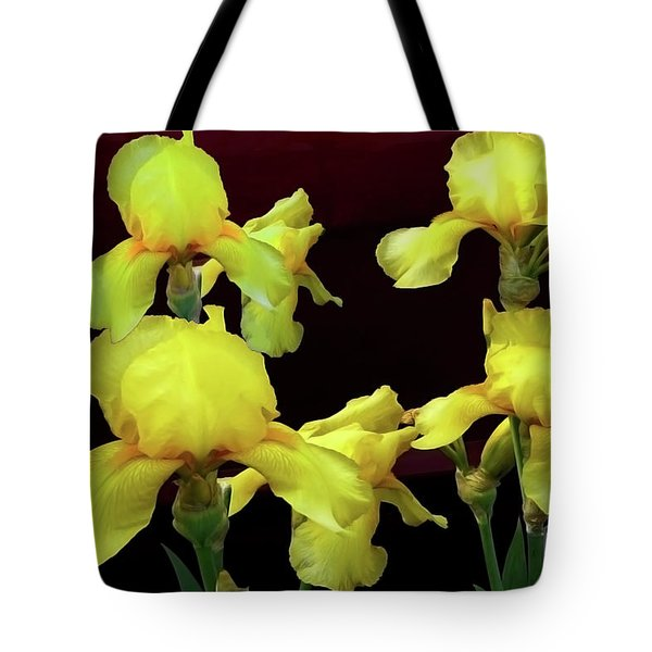 Tote Bag featuring the photograph Irises Yellow by Jasna Dragun