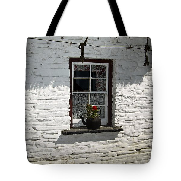 Irish Kettle Of Geraniums County Cork Ireland Tote Bag by Teresa Mucha