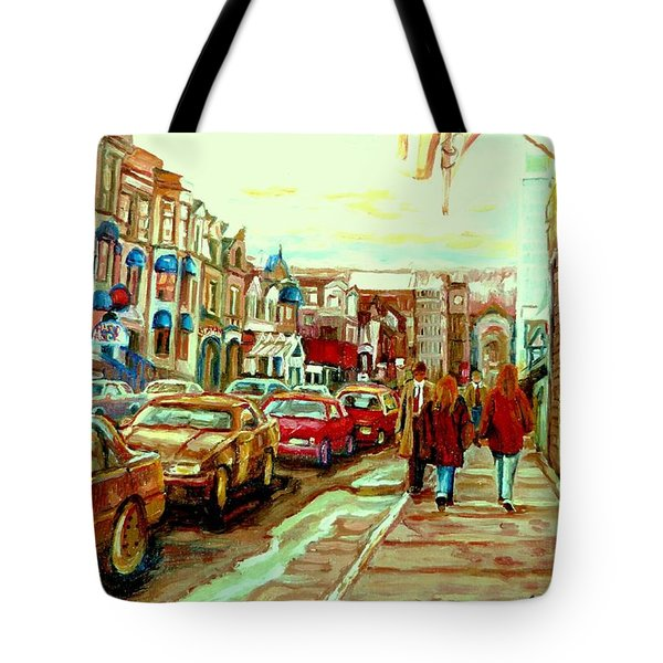 Irish Pubs And Bistros Downtown Montreal Tote Bag by Carole Spandau