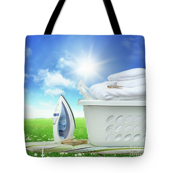 Iron Board And Iron With Basket In Field Of Daisies Tote Bag