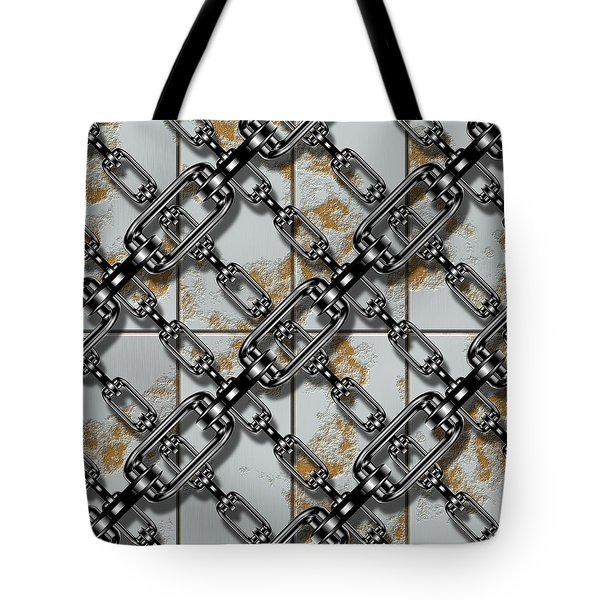 Iron Chains With Rusty Metal Panels Seamless Texture Tote Bag
