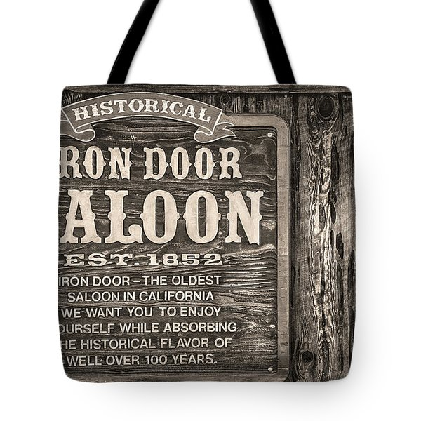 Iron Door Saloon 1852 Tote Bag by David Millenheft
