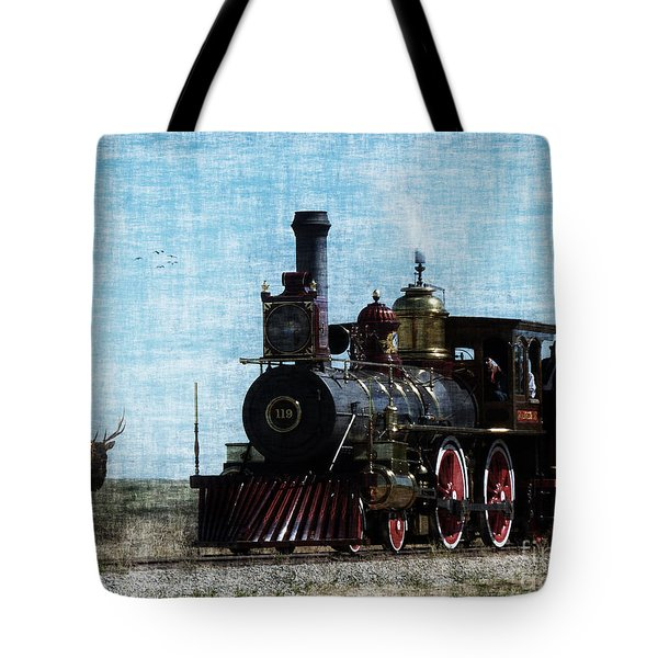 Iron Horse Invades The Plains Tote Bag by Lianne Schneider