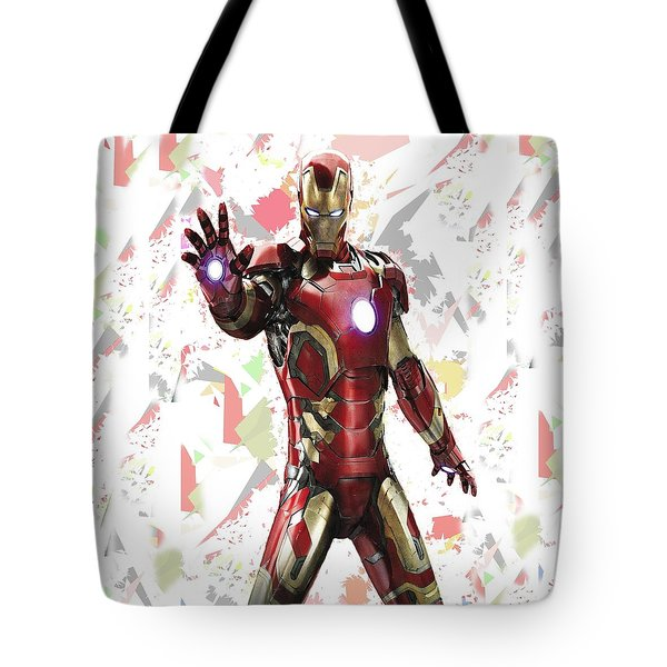 Tote Bag featuring the mixed media Iron Man Splash Super Hero Series by Movie Poster Prints
