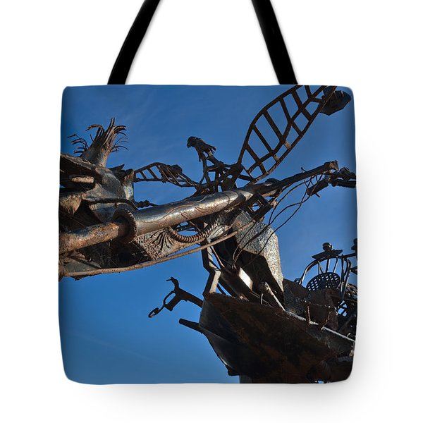 Iron Motorcycle Sculpture In Faro Tote Bag