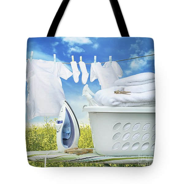 Iron On Ironing Board With Basket Tote Bag