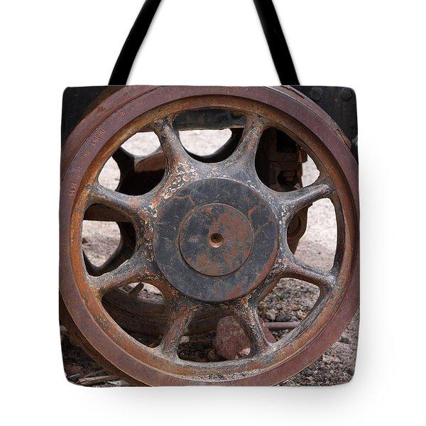 Iron Train Wheel Tote Bag by Aidan Moran