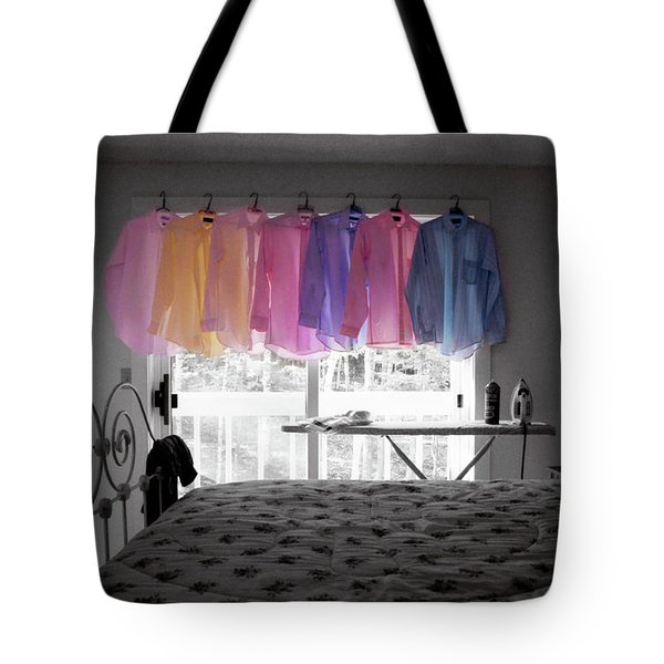 Ironing Adds Color To A Room Tote Bag