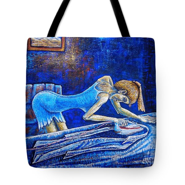Tote Bag featuring the painting Ironing by Viktor Lazarev