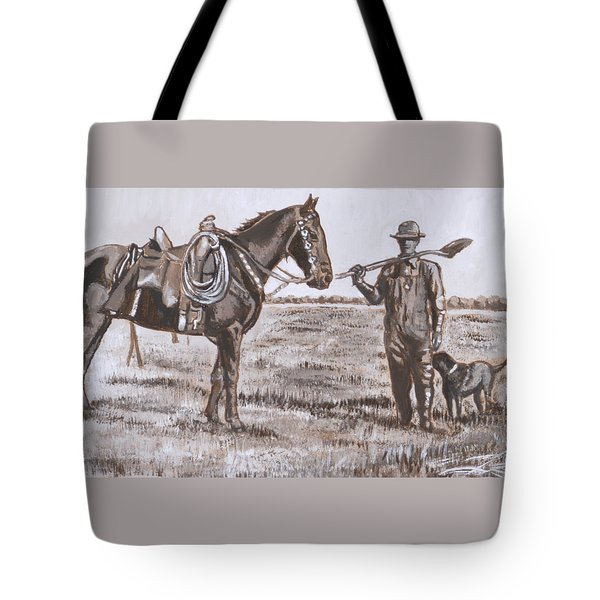 Irrigating The Hay Meadows Historical Vignette Tote Bag by Dawn Senior-Trask