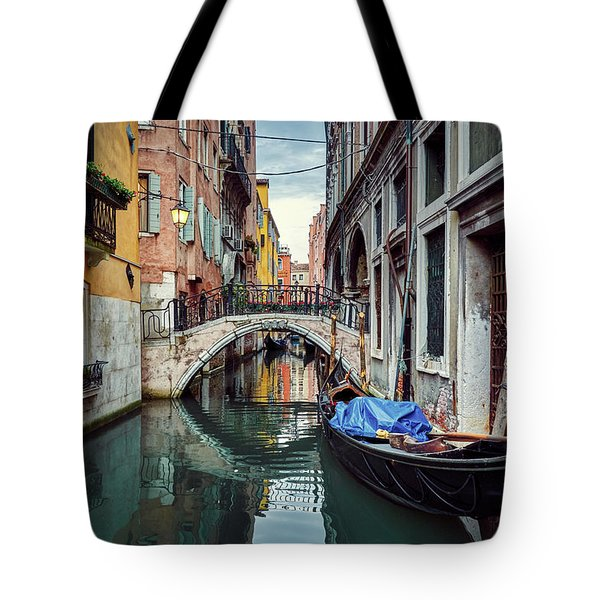 Gondola Parked On Lonely Water Canal In Venice, Italy Tote Bag