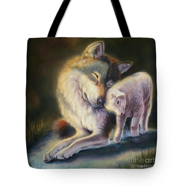 Isaiah Wolf And Lamb Tote Bag