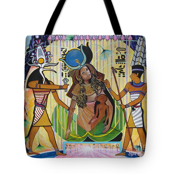 Blaa Kattproduksjoner     Presents Isis Giving Birth To Horus Tote Bag