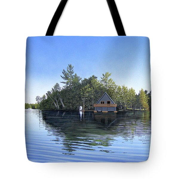 Tote Bag featuring the painting Island Boathouse Muskoka  by Kenneth M Kirsch