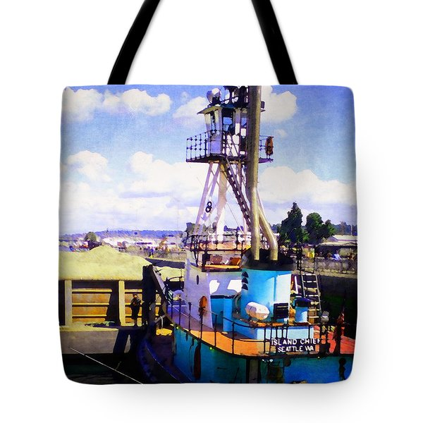 Island Chief In The Ballard Locks Tote Bag
