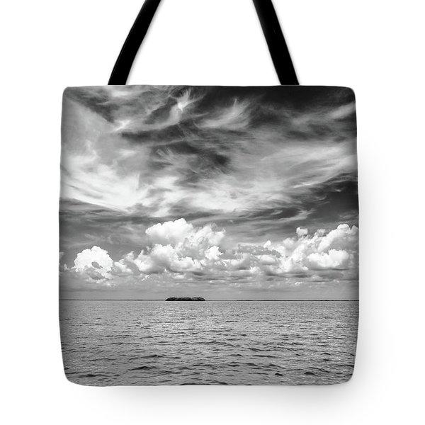 Island, Clouds, Sky, Water Tote Bag